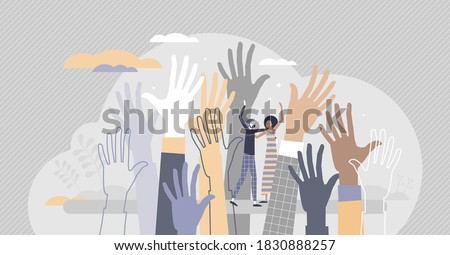 Social diversity as multicultural and race raised hands tiny person concept. Different skin color, various gender, culture and ethnic groups united or connected in solidarity crowd vector illustration