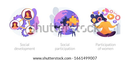 Social engagement metaphors. Participation in society, community involvement, social group. Participation of women. Norms of behaviour abstract concept vector illustration set.