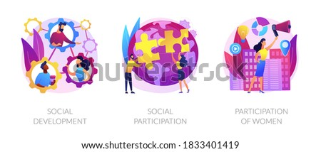 Social engagement metaphors. Participation in society, community involvement, social group. Participation of women. Norms of behaviour abstract concept vector illustration set. Photo stock ©