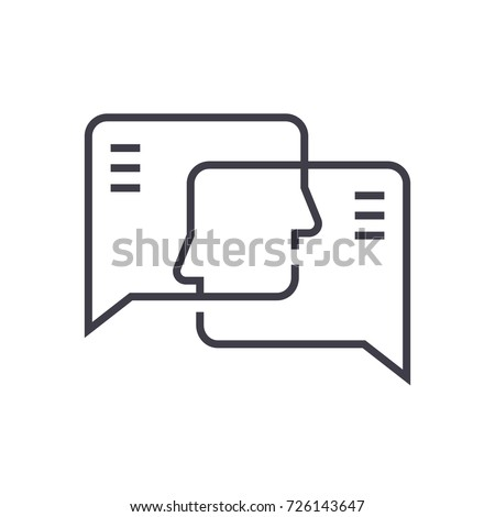 social engagement vector line icon, sign, illustration on background, editable strokes