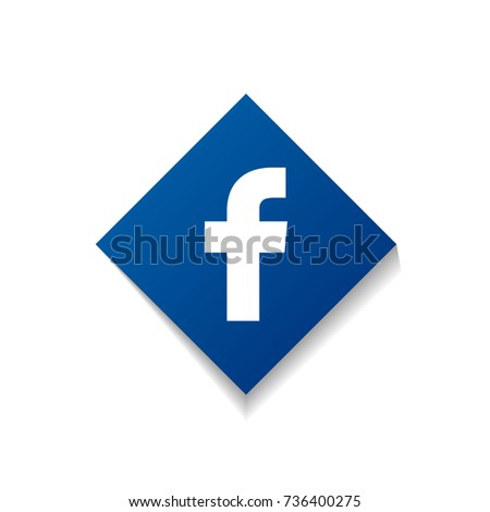 Social Facebook network icon with shadow. Flat button. Vector illustration