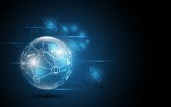 Social Global network  mix media digital technology background