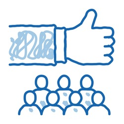 social group sketch icon vector. Hand drawn blue doodle line art social group sign. isolated symbol illustration