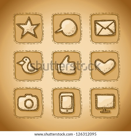 Social Hand Drawn Icons Set - stock vector