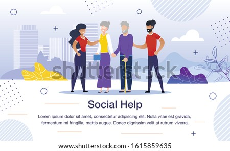 Social Help for Aged People, Volunteer Team Work Trendy Flat Vector Banner, Poster Template. African-American Volunteers Group, Taking Care About Senior Couple, Helping Elderly Person Illustration
