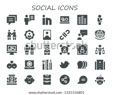 social icon set. 30 filled social icons.  Simple modern icons about  - Conversation, User, Linkedin, Vector, Equalizer, Human, Solidarity, Influencer, 3d, Blogger, Nice, Web design