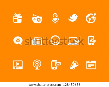 Social icon set, white & orange