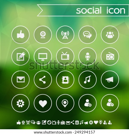Social icons on blurred background