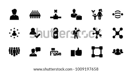Social icons. set of 18 editable filled social icons: like, add user, share, atom interaction, heart tag, group, hospital, network connection, woman consultant with case