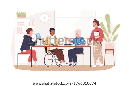 Social inclusion of people in wheelchair concept. Disabled man in wheel chair at meeting. Person with disability in student society. Colored flat vector illustration isolated on white background