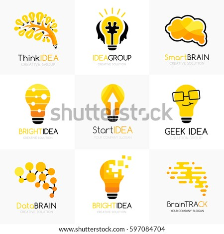 Social innovation logos collection. Vector illustration. Conceptual icons for learning, creative business, innovation brands, science forums and chats