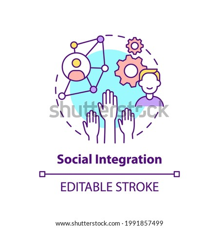 Social integration concept icon. Worker adaptation elements. Societal relations idea thin line illustration. Process of newcomers included. Vector isolated outline RGB color drawing. Editable stroke Foto d'archivio ©