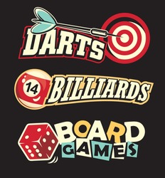Social leisure games logos and design elements set.  Darts, billiards and board games vector symbols and letterheads.
