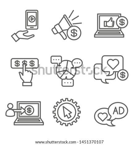 Social Media Ads Icon Set w video ads, user engagement, etc Zdjęcia stock ©