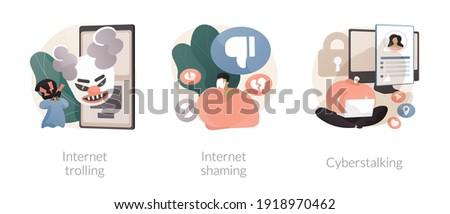 Social media aggressive behavior abstract concept vector illustration set. Internet trolling, digital shaming, cyberstalking, internet harassment, mental abuse, cyber crime abstract metaphor. Foto stock ©