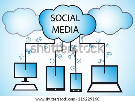 Social media & cloud computing concept modern plan - stock vector