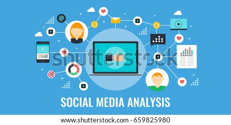 Social media analysis, social networking, report, campaign flat vector banner with icons isolated on blue background