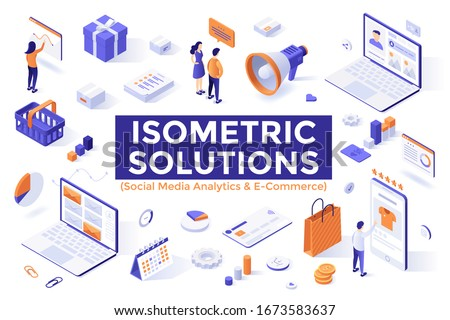 Social media analytics tools, e-commerce, digital marketing, online advertisement, internet retail. Bundle of isometric design elements or objects isolated on white background. Vector illustration.