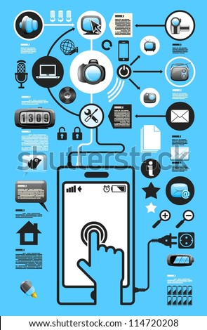 social media and communication info graphic elements, vector background