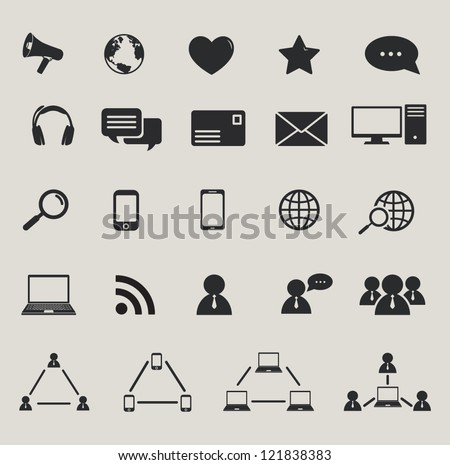 social media and computer communication icons set