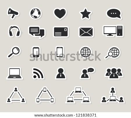 social media and computer communication icons set.paper stickers