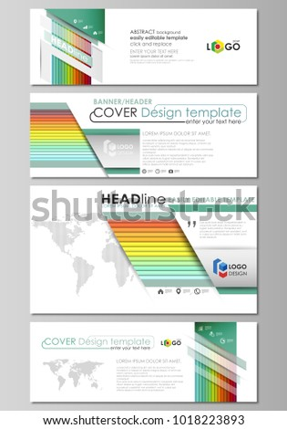 Social Media And Email Headers Set Modern Banners Business Templates Vector Layout In