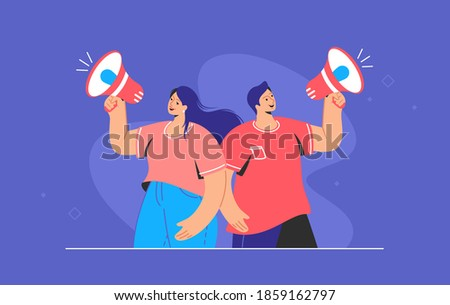 Social media and internet marketing loudspeaker banner. Flat line vector illustration of cute couple standing and shouting with red megaphone. Marketing announcement promo alert on purple background