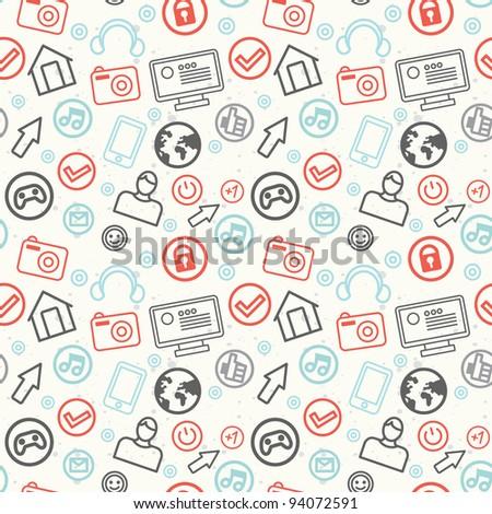 social media and internet seamless pattern - vector illustration