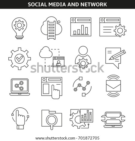 social media and network icons in outline style