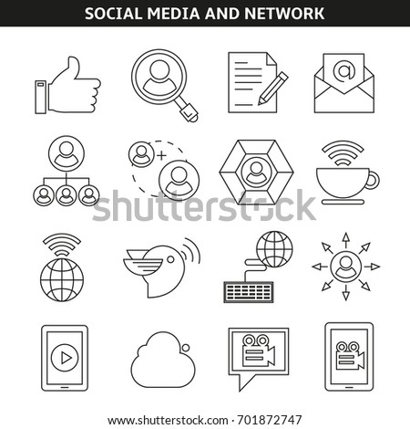 social media and network icons in outline style #701872747