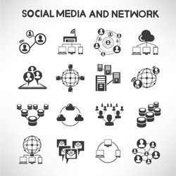 social media and network icons set, information technology