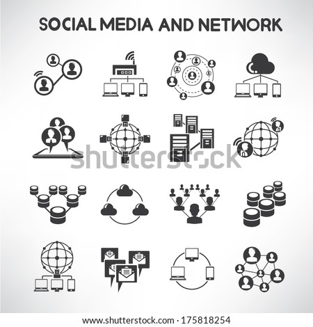 social media and network icons...
