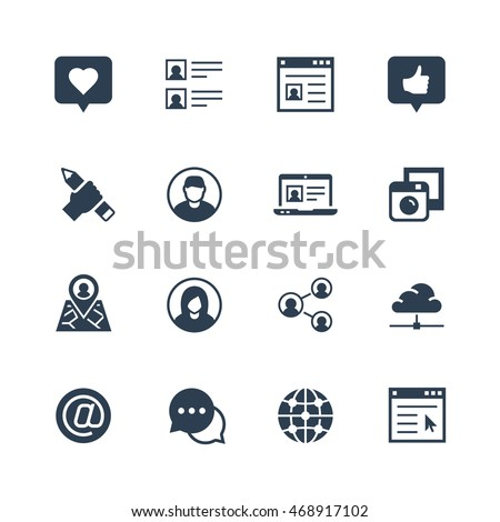 Social media and network vector icon set