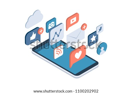 Social media apps on a smartphone: online sharing, messaging and marketing on social networks concept #1100202902