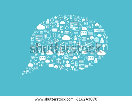 Social media background. Internet and social media icons in the shape of the brain.Light blue background. Abstract background