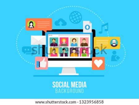Social media background - people connecting through modern technology devices