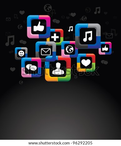 social media background with bright buttons - vector illustration