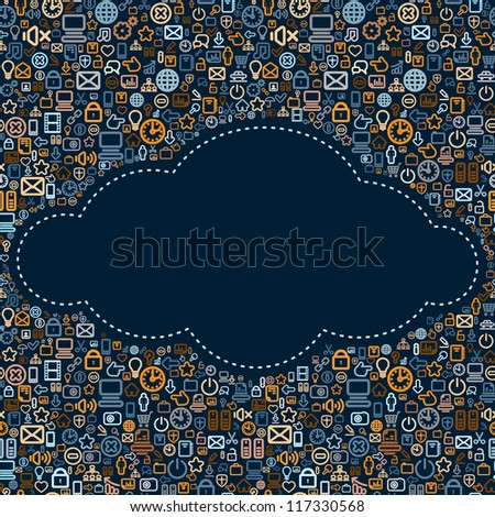 Social Media Background with Icons Cloud. Seamless Vector Texture.