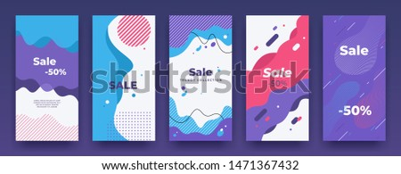 Social media banner. Story sale swipe up template, sale price vertical poster pack, mobile app promo. Vector store promo offer illustration landing frame set