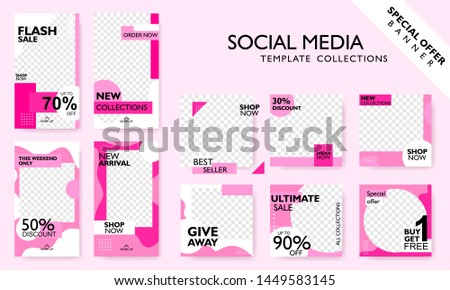 Social media banner template for promotion. Special offer layout frame for story and poster. Editable mockup for mobile apps with modern abstract shape. For shop owner, entrepreneurs, and others #1449583145