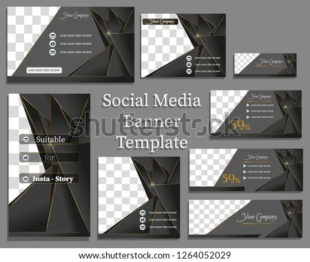 Social media banner template in black and gold. With copy space and image space #1264052029