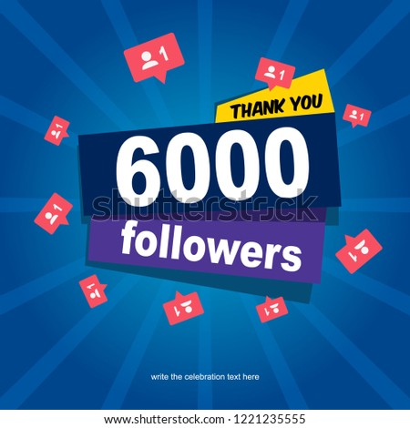 Social media banner with thank you for 6000 followers Foto stock ©