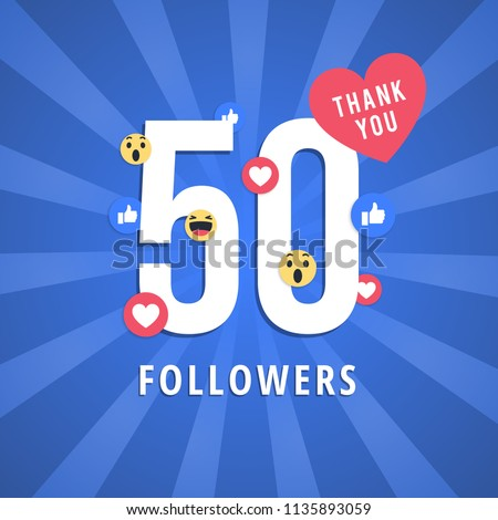 Social media banner with thank you for 50 followers. Blue card with Thank you celebrate all subscribers or followers with simple post.