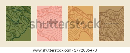 Social media banners, a beautiful line-art set of social media post templates with minimal abstract organic shapes, can be used also card, cover, Vector illustration. stock photo