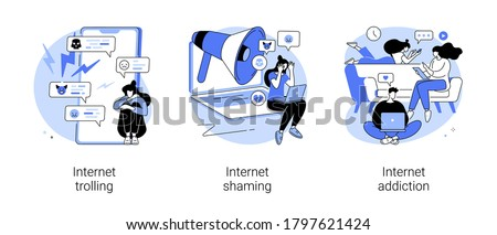 Social media behavior abstract concept vector illustration set. Internet trolling and shaming, internet addiction, digital harassment, stalking and bullying, emotional message abstract metaphor. Stock photo ©