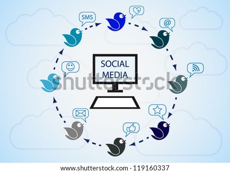 Social media birds flying around modern background