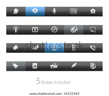 Social Media // Blackbar Series +++ It includes 3 buttons states in different layers. +++ - stock vector