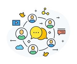 Social media blog. Virtual communication smartphone. Cooperation interaction. Vector illustration Eps 10 file. Success, Cooperation. line icon illustration