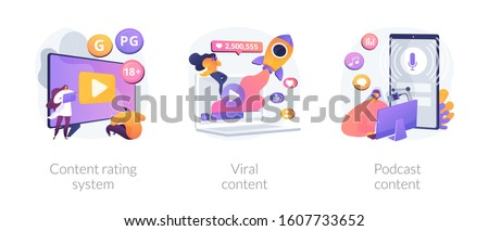 Social media blogging. Movie streaming, online network likes and followers attracting. Content rating system, viral content, podcast content metaphors. Vector isolated concept metaphor illustrations.