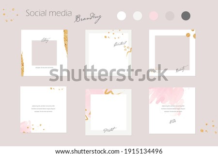 social media branding template, Instagram promotion banner and digital marketing background mockup in pink pastel and gold colors. for beauty salon, cosmetics, fashion, jewelry, content. vector